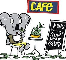 Cartoon of happy koala bear eating gum leaf salad by Al Benge