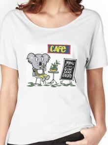 Cartoon of happy koala bear eating gum leaf salad Women's Relaxed Fit T-Shirt