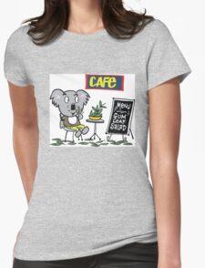 Cartoon of happy koala bear eating gum leaf salad Womens Fitted T-Shirt