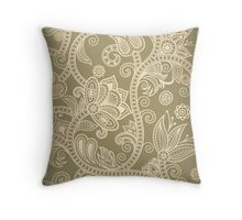 Taupe Floral Throw Pillow