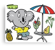 Cartoon koala bear sitting under cafe sun umbrella Canvas Print