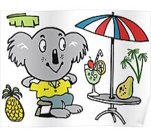 Cartoon koala bear sitting under cafe sun umbrella Poster