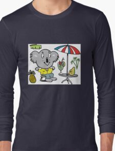 Cartoon koala bear sitting under cafe sun umbrella Long Sleeve T-Shirt