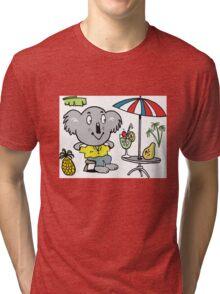 Cartoon koala bear sitting under cafe sun umbrella Tri-blend T-Shirt