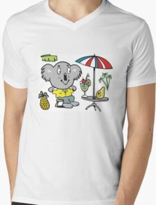 Cartoon koala bear sitting under cafe sun umbrella Mens V-Neck T-Shirt