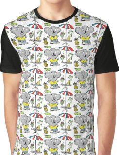 Cartoon koala bear sitting under cafe sun umbrella Graphic T-Shirt