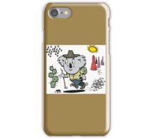 Cartoon of happy koala bear swagman in outback iPhone Case/Skin