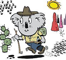 Cartoon of happy koala bear swagman in outback by Al Benge