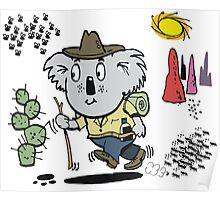 Cartoon of happy koala bear swagman in outback Poster