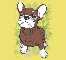 French Bull Dog Cartoon Brown and White Kids Tee