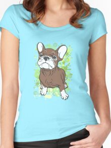 French Bull Dog Cartoon Brown and White Women's Fitted Scoop T-Shirt