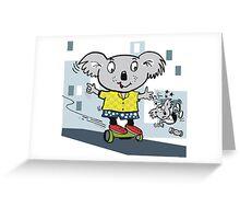 Cartoon koala bear having fun on hover board Greeting Card