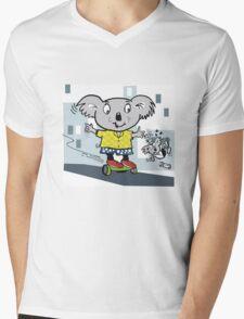 Cartoon koala bear having fun on hover board Mens V-Neck T-Shirt