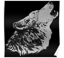 Howling Gray Wolf Poster