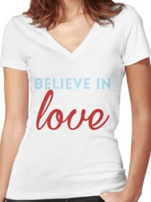 Believe in Love Women's Fitted V-Neck T-Shirt