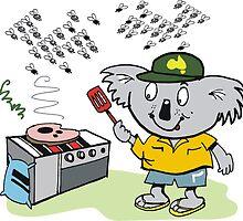 Cartoon of happy koala bear using barbecue by Al Benge