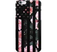 Black American Flag with Cherry flower background iPhone Case/Skin