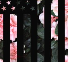 Black American Flag with Cherry flower background Sticker