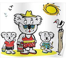 Cartoon of koala bear family at beach Poster