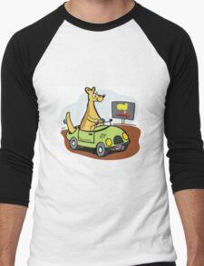 Cartoon kangaroo driving car in Australian outback. Men's Baseball ¾ T-Shirt