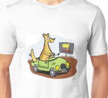 Cartoon kangaroo driving car in Australian outback. Unisex T-Shirt