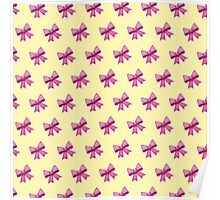 Bow Emoji Pattern Yellow Poster