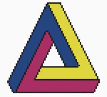 Pixel Penrose triangle in colors Kids Clothes