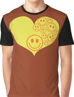 smiley faces on love heart Graphic T-Shirt