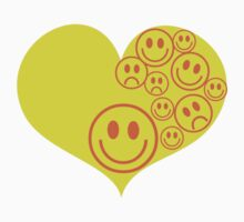 smiley faces on love heart One Piece - Short Sleeve