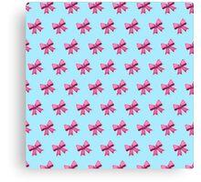Bow Emoji Pattern Blue Canvas Print