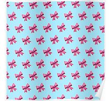 Bow Emoji Pattern Blue Poster