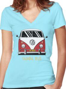 VW T1 SambaBus (red) Women's Fitted V-Neck T-Shirt