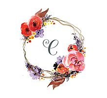 Autumn Wreath with Name Initial C Photographic Print
