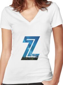 The Letter Z - Starry Night Women's Fitted V-Neck T-Shirt