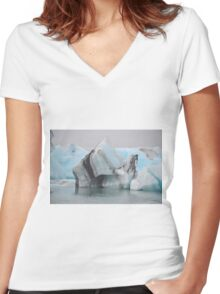 Jokulsarlon Glacial Lagoon in Iceland Women's Fitted V-Neck T-Shirt