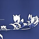 White on Blue, flowers by Kornrawiee