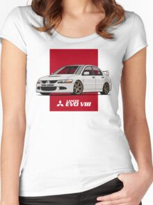 Mitsubishi Lancer Evolution VIII (white) Women's Fitted Scoop T-Shirt