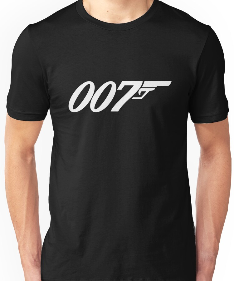 007 James Bond White and black Unisex T-Shirt