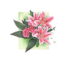 Roses and Lilies Photographic Print