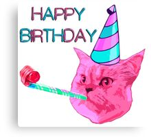 Happy Birthday Party cat Canvas Print