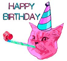 Happy Birthday Party cat Photographic Print