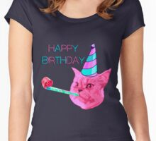 Happy Birthday Party cat Women's Fitted Scoop T-Shirt