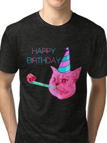 Happy Birthday Party cat Tri-blend T-Shirt