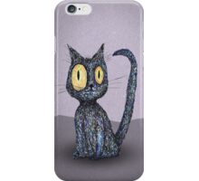 A black curly cat iPhone Case/Skin
