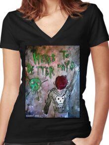 For Better Days Women's Fitted V-Neck T-Shirt
