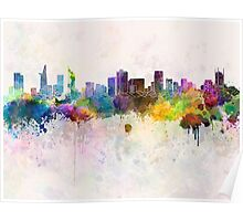 Ho Chi Minh skyline in watercolor background Poster