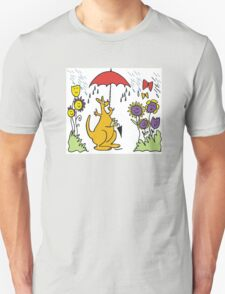 Cartoon kangaroo with umbrella in rain T-Shirt