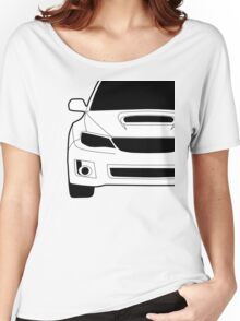 Sticker / Decal: Subaru WRX STI Front Angle with Corner Edge Cut Women's Relaxed Fit T-Shirt