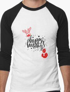 Happy Holidays Men's Baseball ¾ T-Shirt