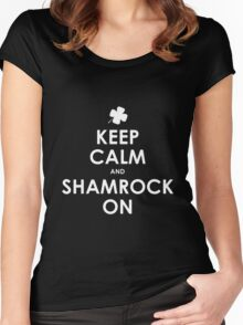 Keep Calm And Shamrock On St Patricks Day T-Shirt Women's Fitted Scoop T-Shirt